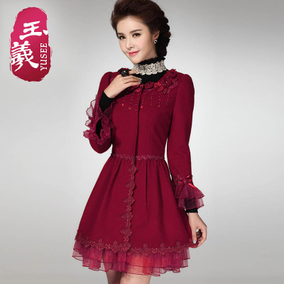 Red woolen coat Girls long paragraph Guai Si 2014 fall and winter clothes new long-sleeved wool woolen coat Slim