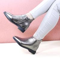 时尚美足正品女鞋2015年秋冬新款欧美枪色黑色尖头拉链金属短靴潮