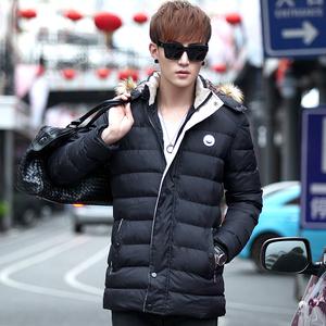 男士修身潮棉衣冬天外套男韩版棉服带帽青年潮牌男装中长款棉袄男