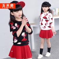 童装女童套装秋装2015新款儿童潮韩版儿童长袖两件套春秋短裙套装