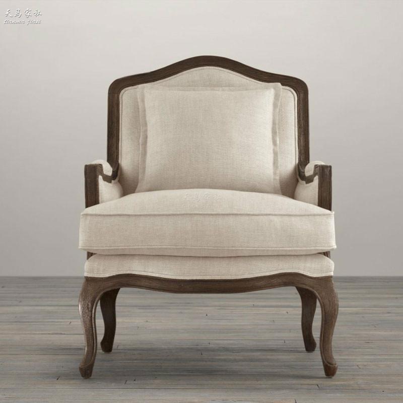 复古做旧单人沙发椅 美式乡村布艺软包老虎椅样板房休闲客厅椅子