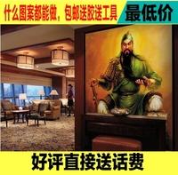 中式无缝大型壁画岳飞关羽三国武将餐厅客厅壁纸玄关电视背景墙纸