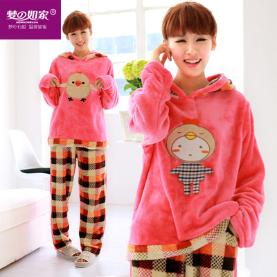 Dream Home cute girl in autumn and winter coral velvet pajamas thicker section flannel hooded tracksuit suit cartoon