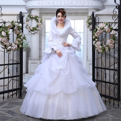 2014 new wedding dress the bride married long-sleeved winter wedding winter wedding dresses Slim Princess Puff Qi
