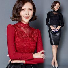 加绒加厚大码蕾丝衫女2015秋冬装新款韩版高领打底衫长袖网纱上衣