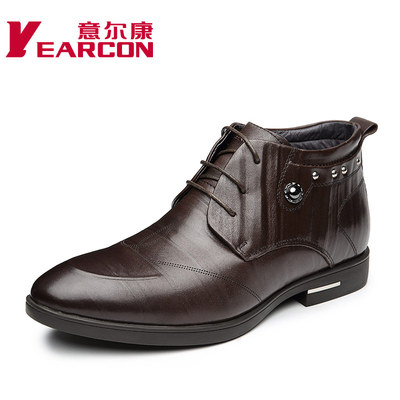Yearcon new autumn and winter 2014 men's genuine leather business dress warm velvet male cotton-padded shoes