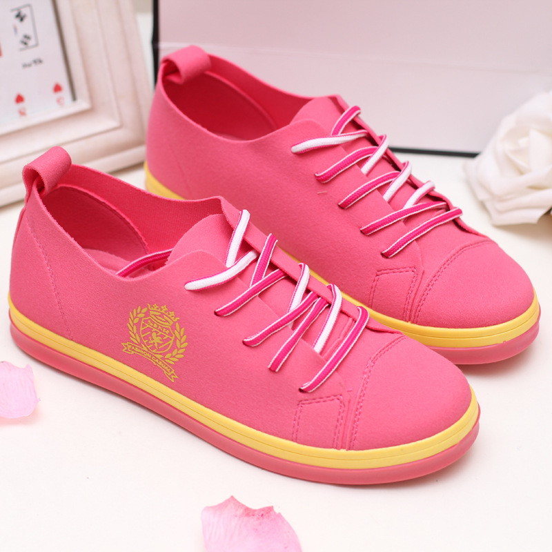 Popular new fall wild casual small fresh candy color soft dough Korean girls lace canvas shoes