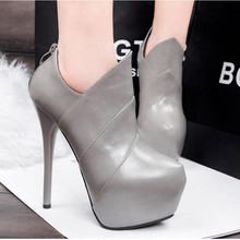 Qiu dong the European and American fashion sexy short boots nightclub ultra high heels 15 cm high waterproof Taiwan female boots fine with bare and boots