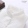 纯棉白色衬衫女立领长袖宽松蕾丝木耳花边打底衬衣春秋季文艺