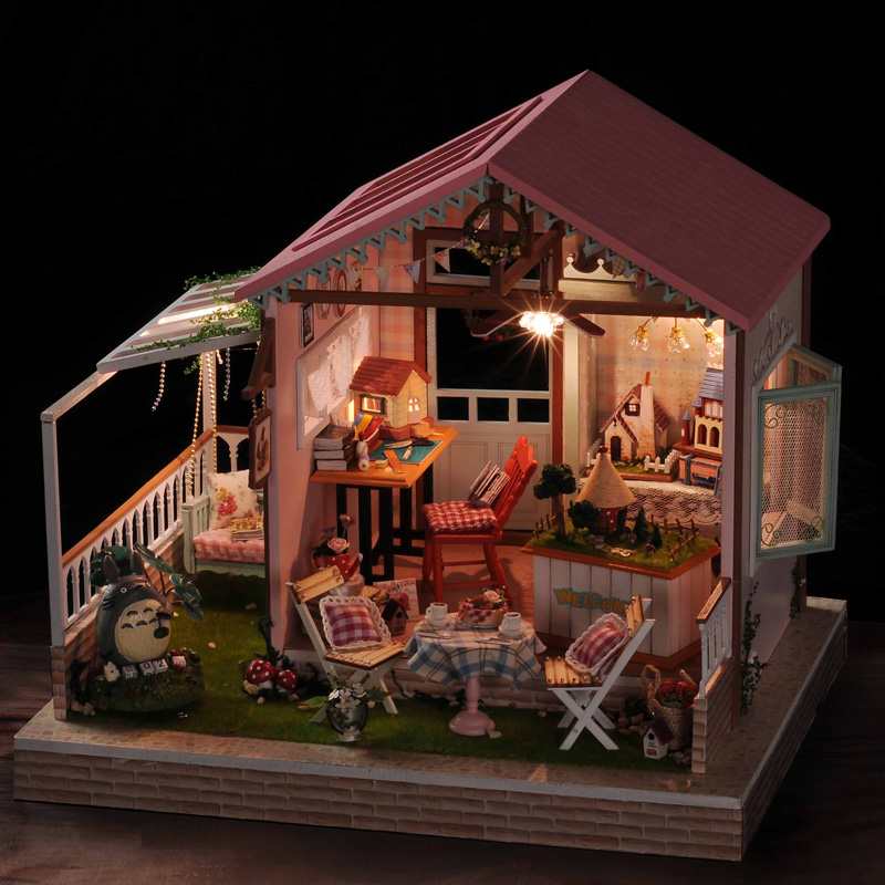 diy小屋创意手工制作房子拼装建筑模型大型别墅生日礼物 梦幻乐园