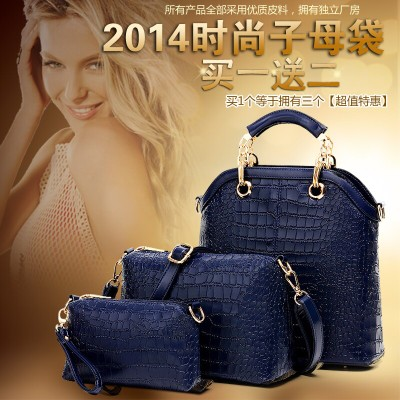 European and American crocodile pattern handbag 2014 new wave of female hand shoulder bag three-piece picture pack mother bag big bag