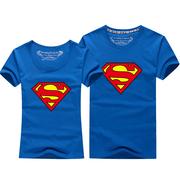 夏装T恤情侣装短袖卡通本命年男女宽松大码年会班服钻石超人