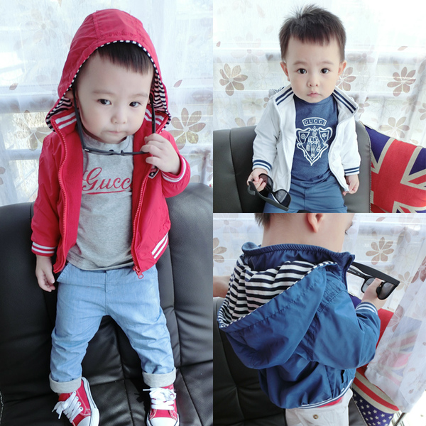 Camphor camphor house red and blue jacket children baby clothing baby Hitz quilted hooded Phi wave