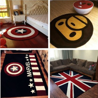 简约米字旗猴子美国队长盾牌儿童圆形客厅卧室玄关电脑椅地毯定制