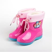 Winter Japanese female baby boy rain boots children big ZhongTong antiskid rubber shoes ensure children with velvet water shoes
