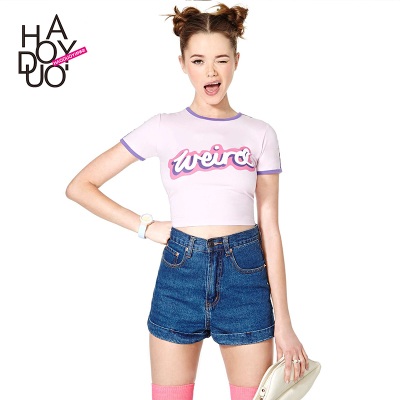 Stretch Slim hit color trim Weird letters printed short-sleeved T-shirt short stretch fit haoduoyi