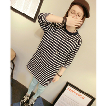 Fine T-shirt seven nylon sleeve loose classic stitching in the streets of Europe and the United States code round collar of both the horizontal stripe long