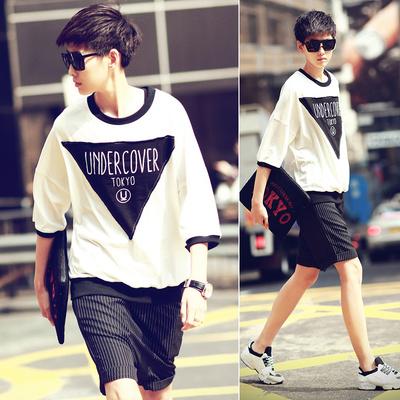 LES summer youth bat sleeve patch short sleeve T-shirt men seven sleeve T-shirt han edition men's wear loose boom