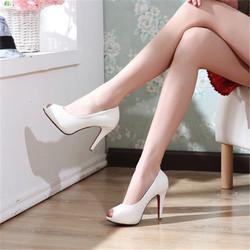 秋夏高跟鞋细跟女鞋动物纹鱼嘴凉鞋防水台白色鞋子职业小大码单鞋
