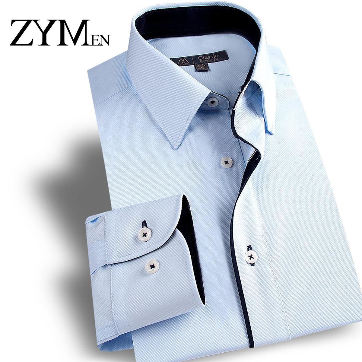 ZYMEN男士衬衫长袖秋季免烫修身韩版商务休闲正装伴郎纯色白衬衣