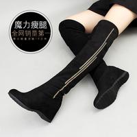 2016新款冬靴套脚瘦腿弹力靴子高跟过膝长靴女靴内增高坡跟显瘦潮