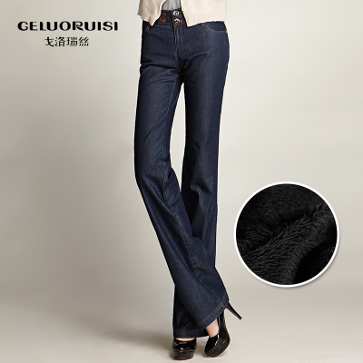 Golovin Raystown pants 2014 winter models plus thick velvet jeans female Weila Slim thin velvet trousers with warm