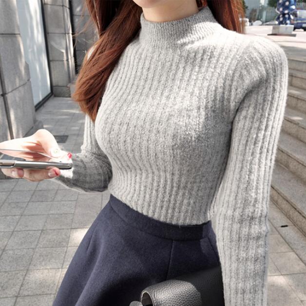 韩国秋冬上新纯色百搭半高领毛绒套头加厚显瘦打底针织衫紧身毛衣