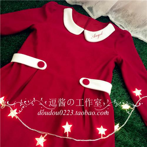 逗酱原创秋冬【Angel草莓巧克力】学院复古外套连衣裙呢料小礼服