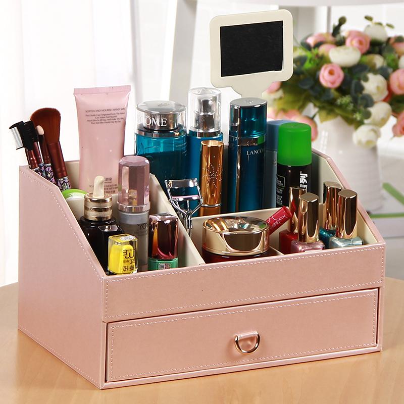 欧式桌面皮革化妆品收纳盒镜子抽屉式护肤品首饰梳妆台置物架韩国