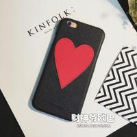 潮牌皮质爱心iphone6/6S手机壳4.7寸苹果6plus甜美保护套5.5外壳