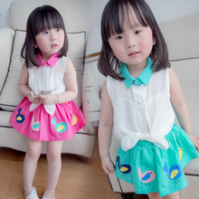 2015 children's wear girls children summer wear short skirt suit baby 0-2 year old child in the summer of paragraph 3-4 female baby summer wear