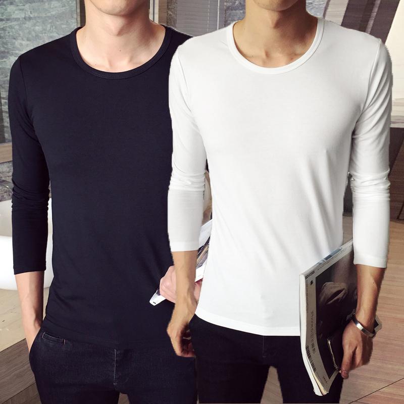 冬季加绒长袖圆领T恤紧身上衣服男装韩版修身运动纯色打底体恤衫