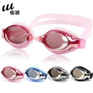 游泳眼镜 佑游正品电镀近视泳镜 防水防雾带度数游泳镜 男女