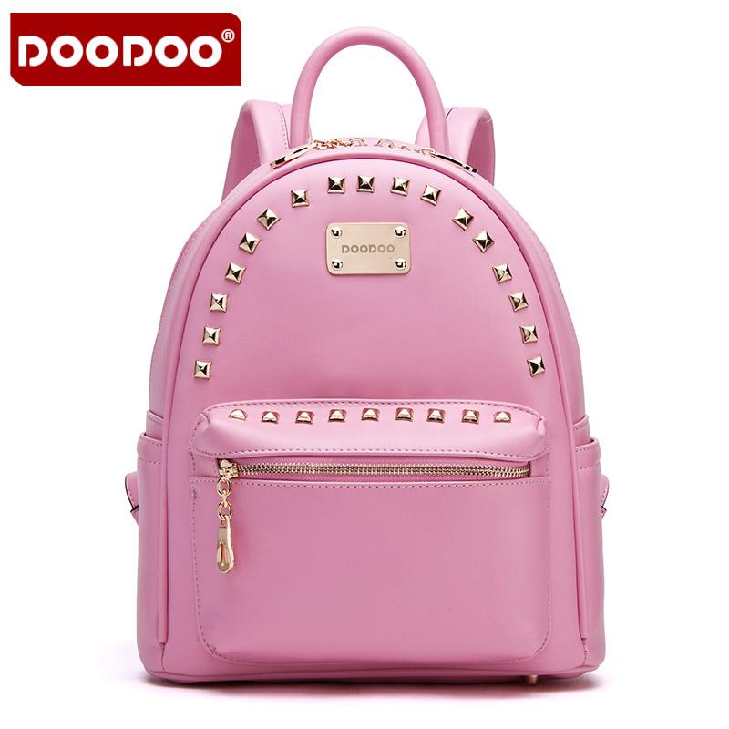 doodoo夏季新款铆钉双肩包女韩版潮休闲学院风pu皮旅行背包女包包