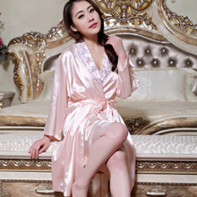 Ms autumn silk pajamas female Sexy female silk condole belt nightgown robe two summer suit household to take
