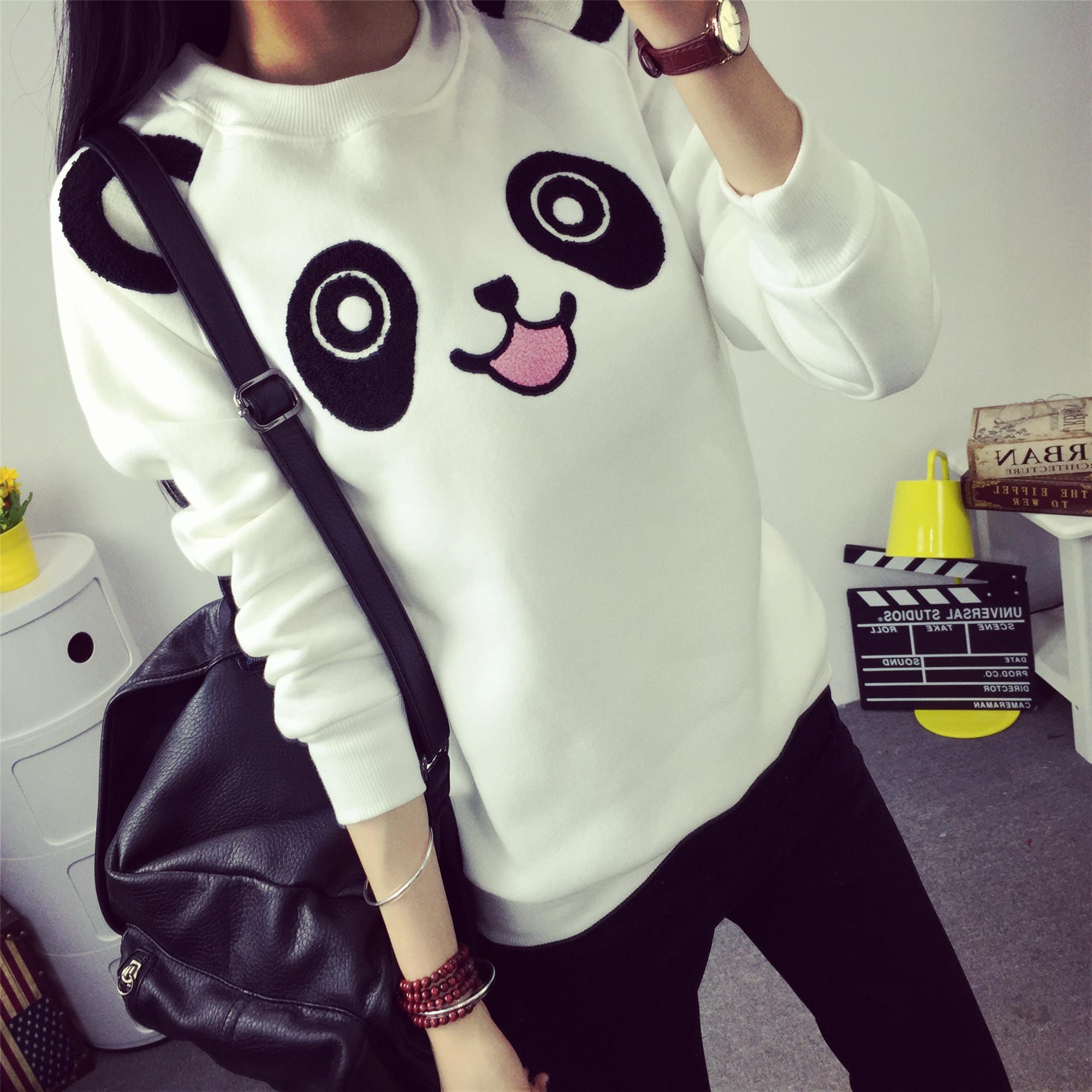 2015秋冬学院风熊猫套头可爱动漫卡通卫衣女男加绒