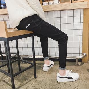 黑色牛仔裤男九分小脚夏季薄款潮流学生百搭紧身9分裤子