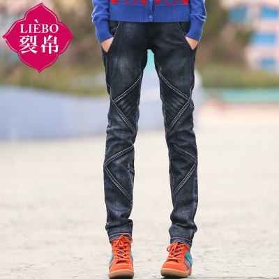 Liebo 2014 fall and winter black lime washes straight Slim waist jeans 0114004K