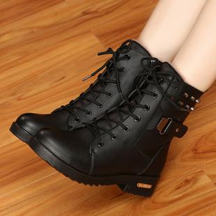 冬季马丁靴英伦风雪地棉鞋加绒学生皮鞋短靴女鞋子皮面粗跟女靴子