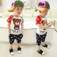 The new 2015 children's summer wear baby boy female infant and children's clothes suit a 0-1-2-3-4 and a half years old with short sleeves
