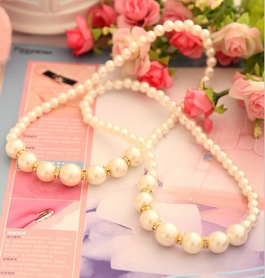 Girls with money gift jewelry model necklace upscale children's necklace white pearl necklace