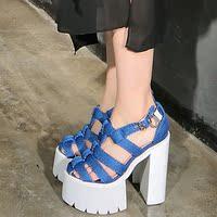 2015新款藏蓝色编织防水台粗跟超稳恨天高齿轮厚底包头潮流凉鞋