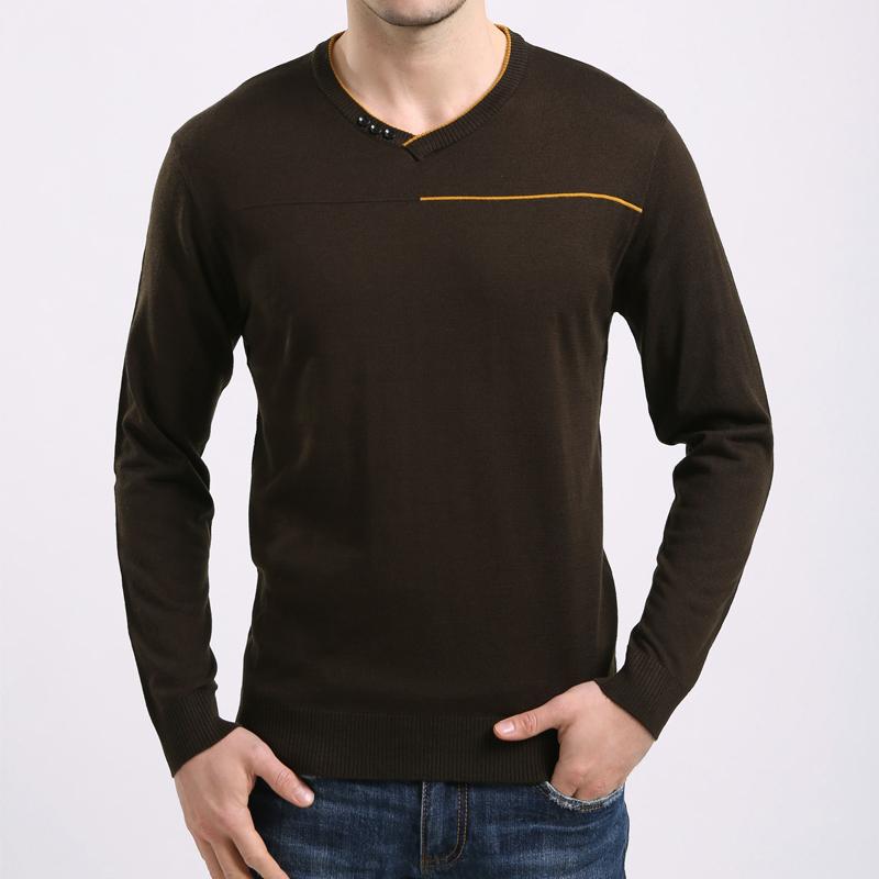 2015春秋季中年男装长袖T恤男士V领体恤衫时尚休闲打底羊毛t恤潮