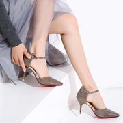 温情鹿高跟鞋细跟女鞋春夏款中空尖头浅口单鞋一字扣亮面婚鞋凉鞋