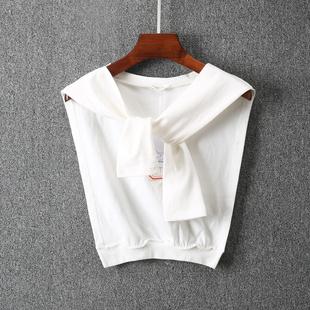 夏季女士薄坎肩白色短款小披肩时尚潮流外搭披肩1188