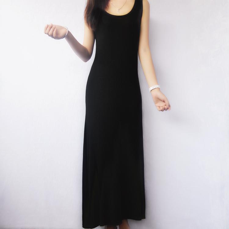 【天天特价】莫代尔背心裙高弹力沙滩摆裙波西米亚长裙大码连衣裙