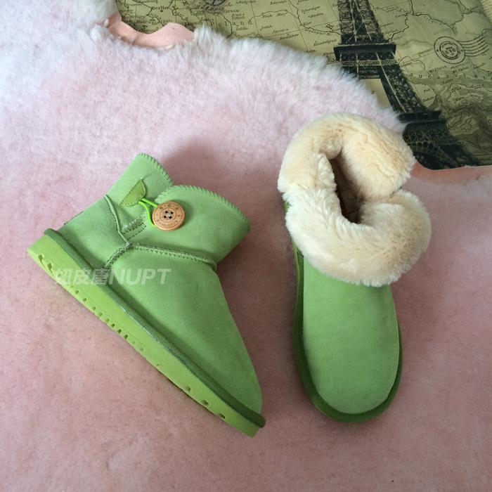 短筒雪地靴 女反季促销平跟加绒套靴真牛皮彩色防水冬靴保暖加厚
