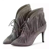 欧洲站2015新款新款磨砂真皮高跟流苏靴尖头细跟时尚女靴子潮短靴