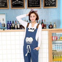 Brand maternity big yards of pregnant woman's abdomen new south Korean women pants pants washed denim overalls of spring tide mom