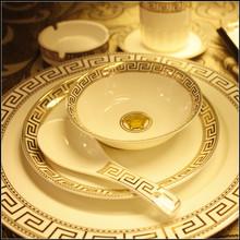 酒店厨房凯发k8娱乐手机版盘子陶瓷碟碗星级酒店豪华饭店包厢骨瓷餐具摆台套装